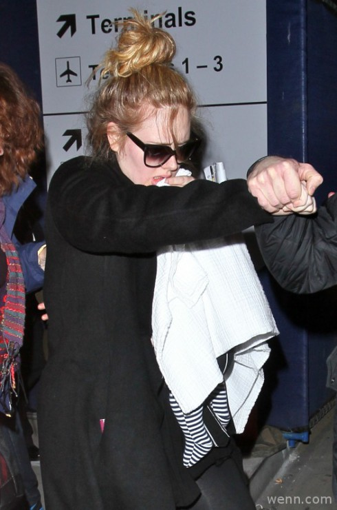 Adele with Baby Angelo at LAX in January 2013