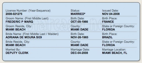 Adriana de Moura and Frederic Marq marriage license