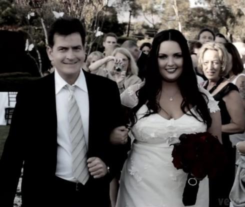 Charlie Sheen and daughter Cassandra Estevez Huffman wedding photo