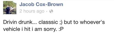 Jacob Cox-Brown original Facebook post about driving drunk on New Year's Eve and hitting another car