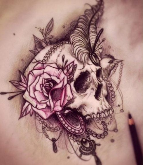 Drawing that inspired Jenelle Evans' skull and rose arm tattoo
