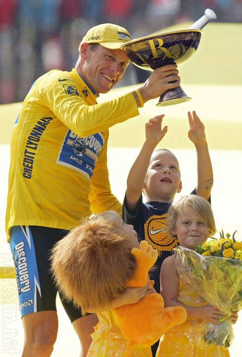 Funny Lance Armstrong parody photo holding a Tour de France cup drug mortar and pestle