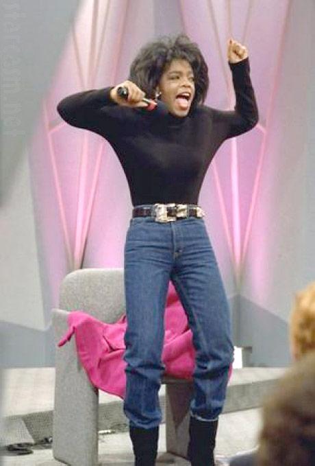Skinny Oprah in jeans