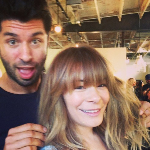LeAnn Rimes gets bangs at the Andy LeCompte Salon in Los Angeles