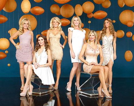 Real Housewives of Orange County season 8 cast photo with Tamra Barney, Heather Dubrow, Gretchen Rossi, Vicki Gunvalson, Alexis Bellino, and Lydia Sterling McLaughlin