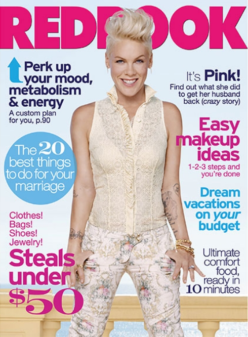 Pink on the cover of Redbook Magazine