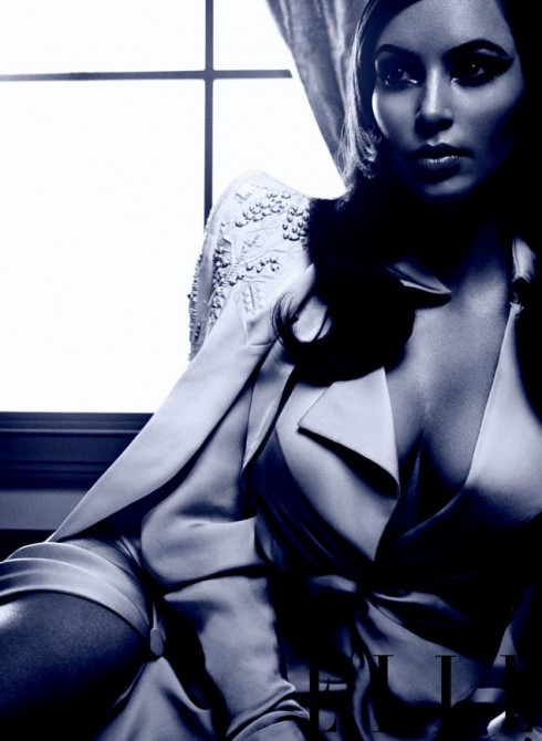 Kim Kardashian shows cleavage in March 2013 issue of Elle Magazine