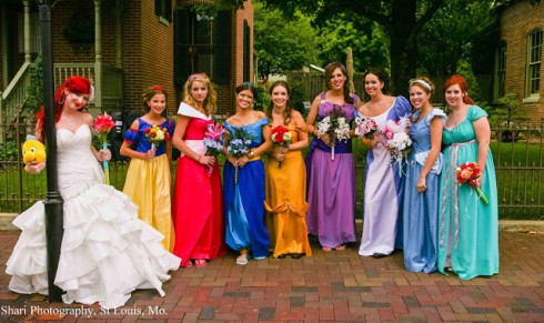 Bridesmaids dressed as Disney characters