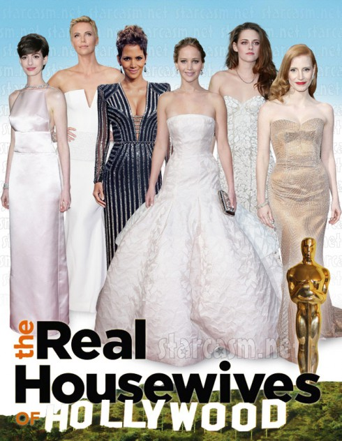 Real Housewives of Hollywood starring Anne Hathaway, Charlize Theron, Halle Berry, Jennifer Lawrence, Kristen Stewart and Jessica Chastain