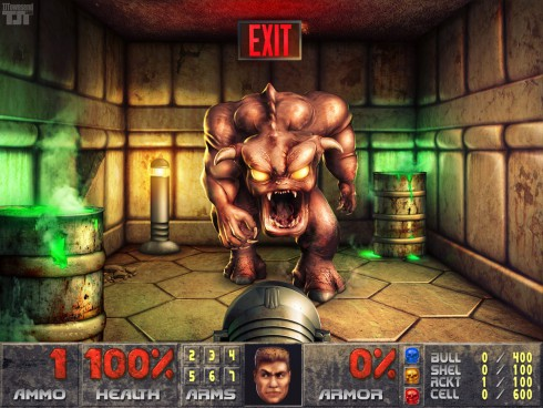 Photoshopped Doom screen cap of Pinky Demon blocks the exit