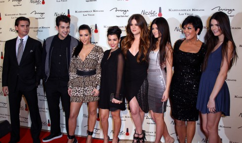 Scott Disick, Rob Kardashian, Kim Kardashian, Kourtney Kardashian, Khloe Kardashian, Kylie Jenner, Kris Jenner and Kendall Jenner attend the grand opening of Kardashian Khaos at The Mirage Hotel and Casino in Las Vegas, Nevada.