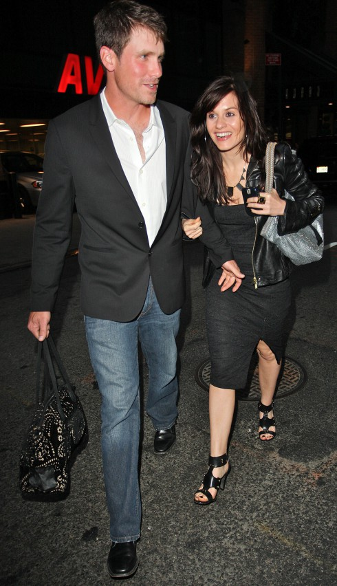 Former 'American Idol' judge Kara DioGuardi and her husband Mike McCuddy leaving a Manhattan hotel in high spirits New York City