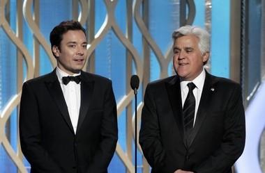 Jimmy Fallon and Jay Leno at the Golden Globe Awards