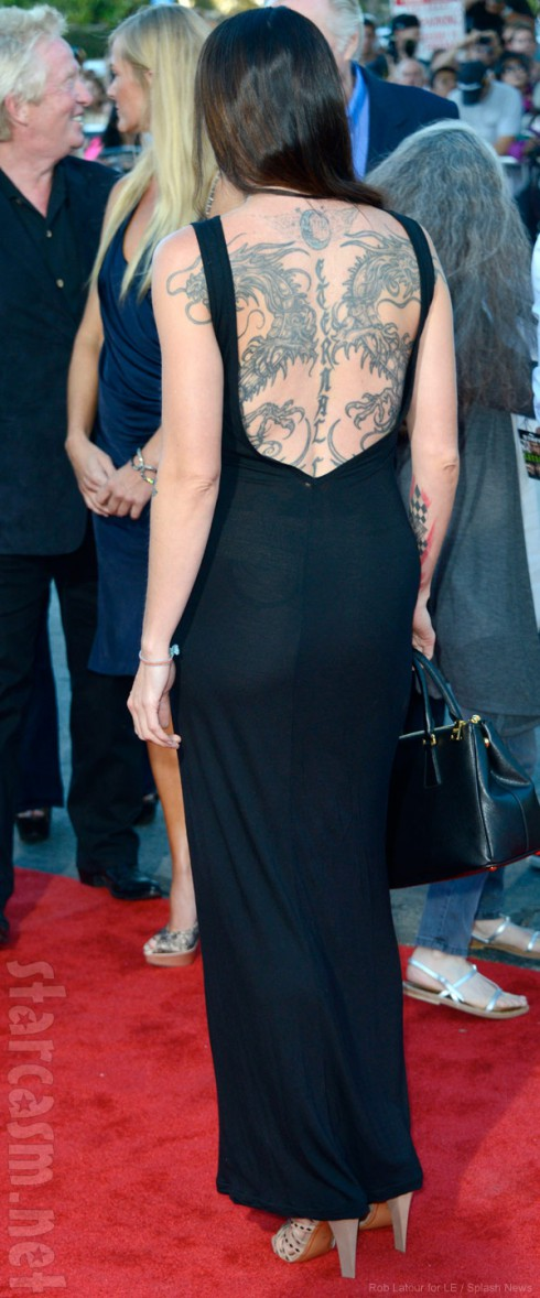 Jesse James wife Alexis DeJoria back tattoo of dragons