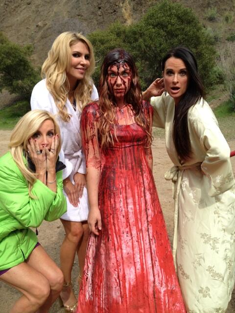 Camille Grammer Brandi Glanville Kyle Richards and Stephen King's Carrie from The Hungover Games