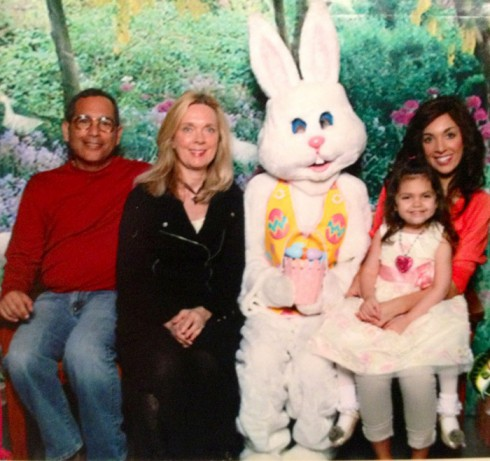 Farrah Abraham fmaily photo with Sophia Debra Michael and the Easter Bunny