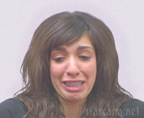 Teen Mom Farrah Abraham crying mugshot photo