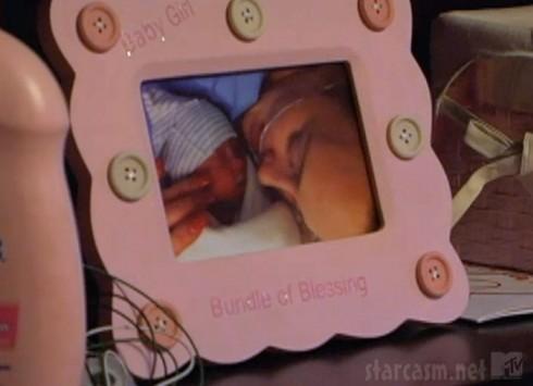 Leah Messer Calvert and newborn daughter Adalynn just after her birth