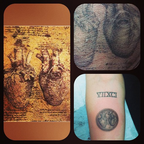 Miley Cyrus Leonardo da Vinci heart Tattoo Kat Von D