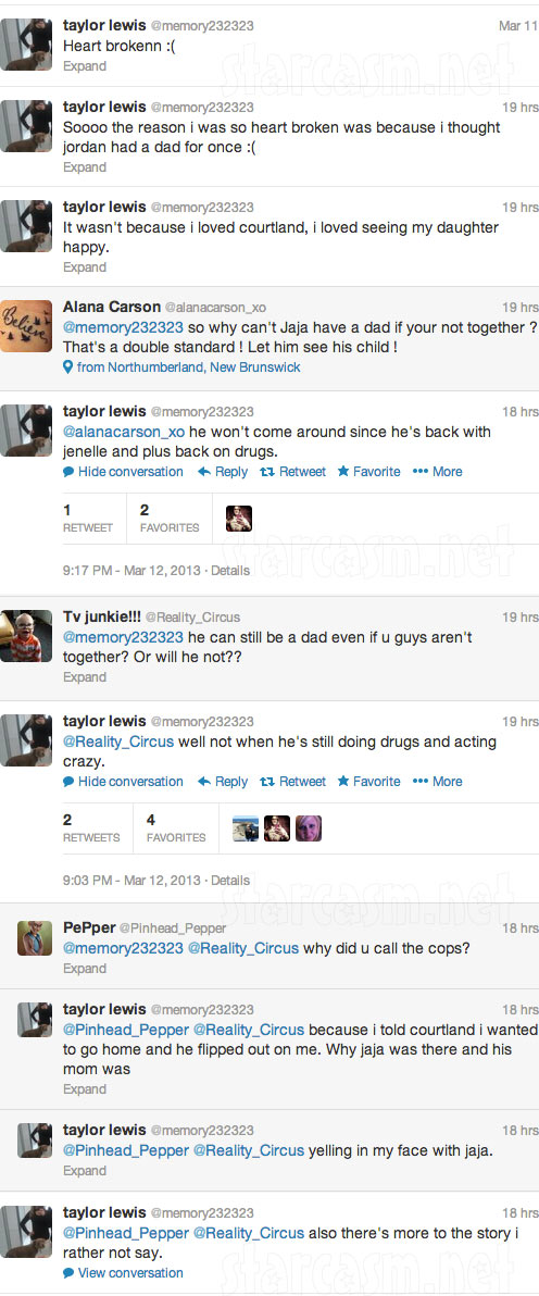 Taylor Lewis says Courtland Rogers still uses drugs