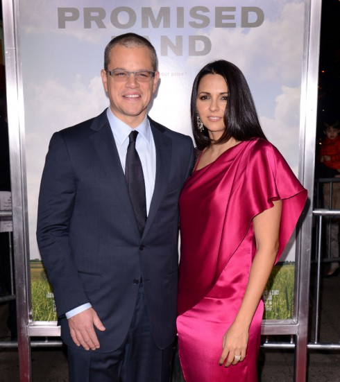 """Matt Damon and Luciana Barroso attend the New York Premiere of """"Promised Land"""" at AMC Loews Lincoln Square in New York City, NY, United States."""