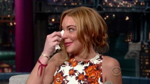 Lindsay Lohan appears on 'The Late Show' and cries