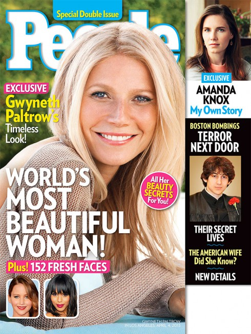 Gwyneth Paltrow on the cover of PEOPLE Magazine after being named the World's Most Beautiful Woman for 2013