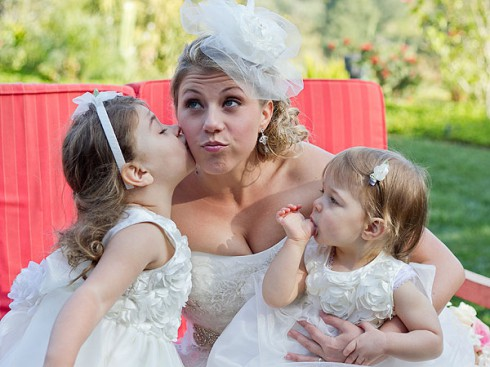 Jodie Sweetin and daughters Zoie and Beatrix at her wedding