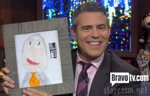 Alexis Bellino's son James' drawing of Andy Cohen for WWHL