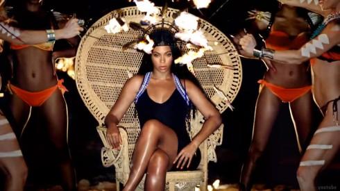 Beyonce H&M Swimwear video wicker chair