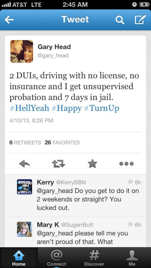 Gary Head tweets about getting jail time for 2 DUIs, driving without a license