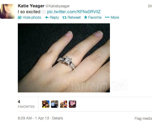 Katie Yeager engagement ring April Fools tweets
