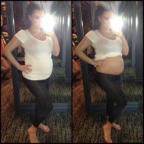 Pregnant Kim Kardashian bare baby bump belly