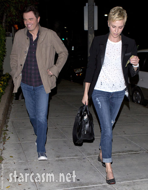 Seth MacFarlane and Charlize Theron out for sushi in Beverly Hills