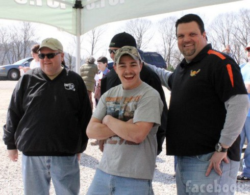 Shain Gandee with Big Buck Country 101.5 radio crew at Gandee's General Store opening