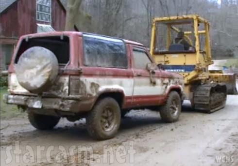 Shain Gandee's Bronco after it was pulled out