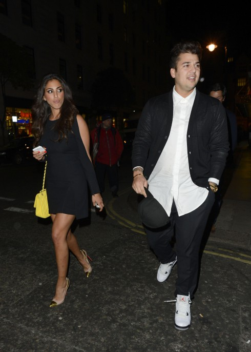 Rob Kardashian and his new girlfriend Naza Jafarian are seen walking from the Mayfair Hotel to Nobu Berkeley restaurant in London, United Kingdom.