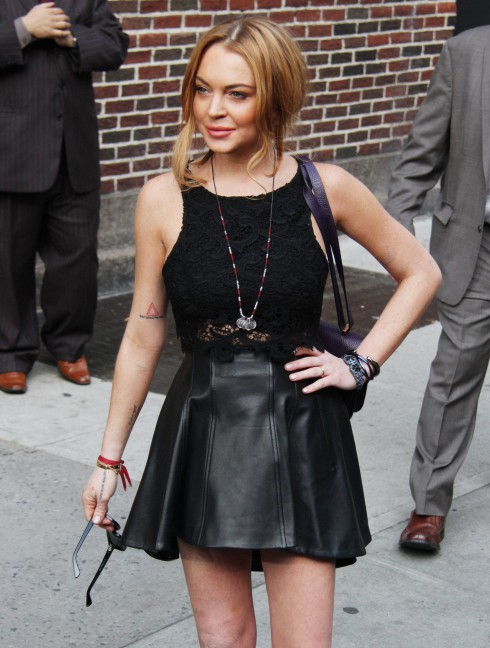 Lindsay Lohan departs the Ed Sullivan Theater after taping 'The Late Show With David Letterman' in New York City, NY, United States.