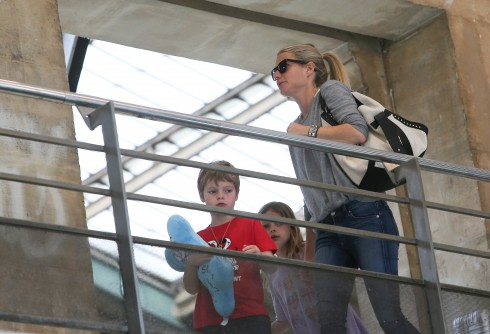 Gwyneth Paltrow with her children, Apple and Moses at North station in Paris, France.