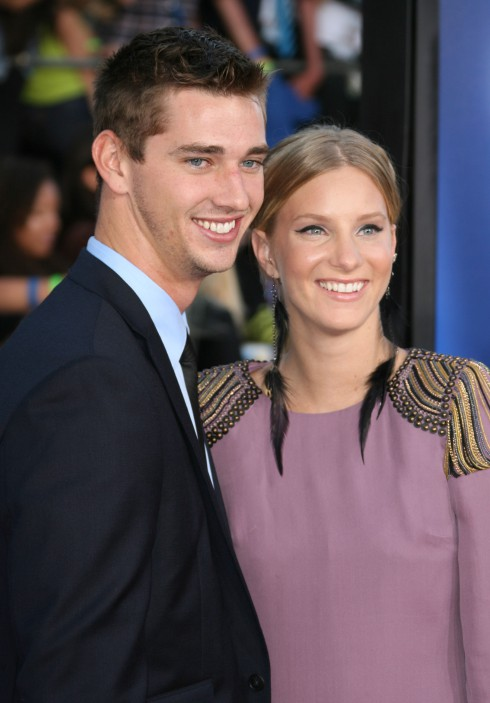 Heather Morris and boyfriend Taylor Hubbell at The world premiere of 'Glee: The 3D Concert Movie' held at the Regency Village Theatre in Los Angeles, California.