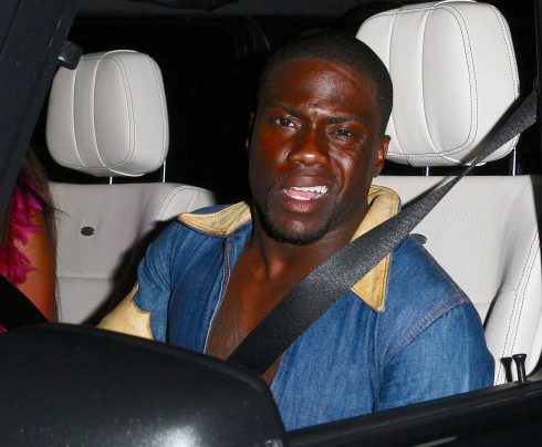 Kevin Hart driving in West Hollywood. The actor was just charged with DUI.