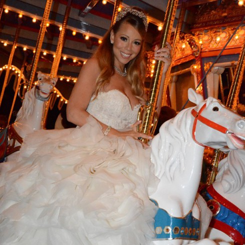Mariah Carey rides the carousel at her April 30 vow renewal to Nick Cannon in Disneyland