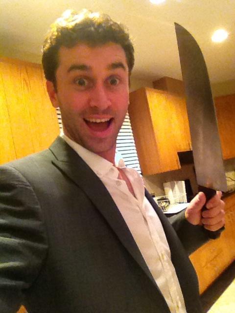 James Deen holds a big knife