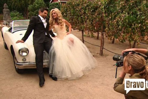 Engagement photos of Eddie Judge and Tamra Barney in wedding dress