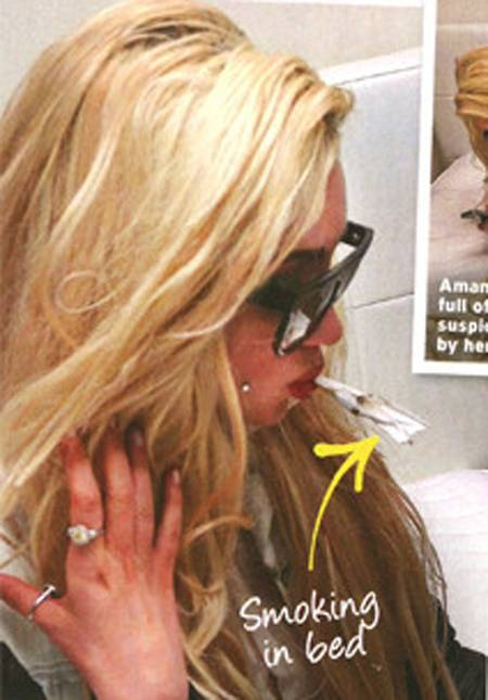 Amanda Bynes allegedly smoking a weed joint at her house party in In Touch