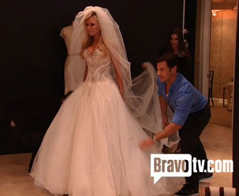 Tamra Barney tries on a wedding dress and veil