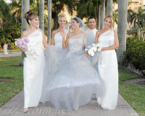 Adriana de Moura wedding with bridesmaids Marysol Patton Alexia Echevarria Lisa Hochstein