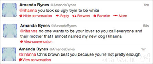 Screen caps of Amanda Bynes' tweets about Rihanna calling her ugly