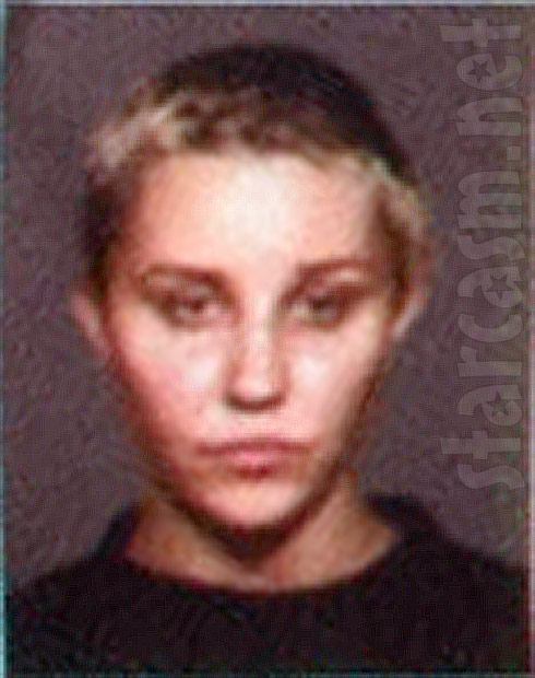 Amanda Bynes mug shot photo with shaved head short hair