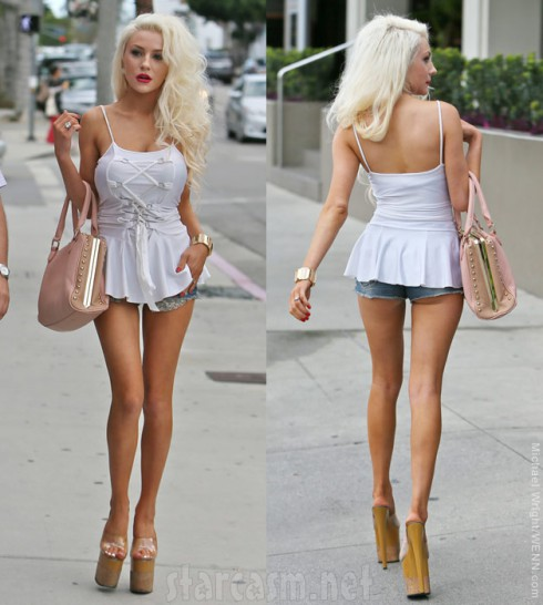 Courtney Stodden from the front and rear
